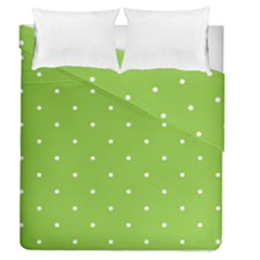 Mages Pinterest Green White Polka Dots Crafting Circle Duvet Cover Double Side (queen Size)