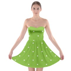 Mages Pinterest Green White Polka Dots Crafting Circle Strapless Bra Top Dress