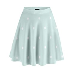 Mages Pinterest White Blue Polka Dots Crafting  Circle High Waist Skirt