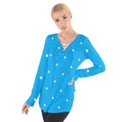 Mages Pinterest White Blue Polka Dots Crafting Circle Women s Tie Up Tee