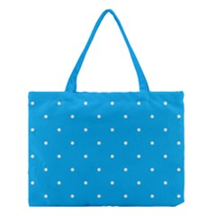 Mages Pinterest White Blue Polka Dots Crafting Circle Medium Tote Bag