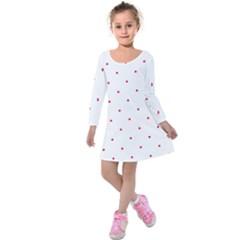 Mages Pinterest White Red Polka Dots Crafting Circle Kids  Long Sleeve Velvet Dress by Alisyart