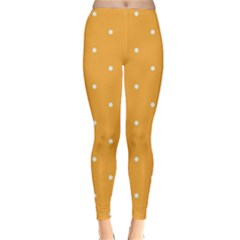 Mages Pinterest White Orange Polka Dots Crafting Classic Winter Leggings