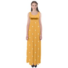 Mages Pinterest White Orange Polka Dots Crafting Empire Waist Maxi Dress