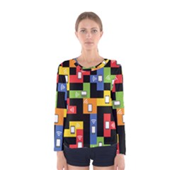 Mobile Phone Signal Color Rainbow Women s Long Sleeve Tee