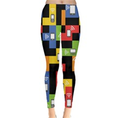 Mobile Phone Signal Color Rainbow Classic Winter Leggings
