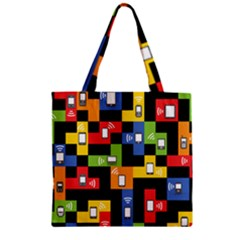 Mobile Phone Signal Color Rainbow Zipper Grocery Tote Bag by Alisyart