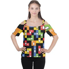 Mobile Phone Signal Color Rainbow Women s Cutout Shoulder Tee