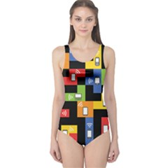 Mobile Phone Signal Color Rainbow One Piece Swimsuit