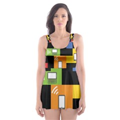 Mobile Phone Signal Color Rainbow Skater Dress Swimsuit by Alisyart