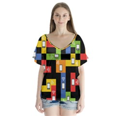 Mobile Phone Signal Color Rainbow Flutter Sleeve Top