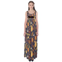 Macaroons Autumn Wallpaper Coffee Empire Waist Maxi Dress