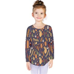Macaroons Autumn Wallpaper Coffee Kids  Long Sleeve Tee by Alisyart