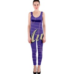 Music Flyer Purple Note Blue Tone Onepiece Catsuit