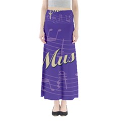 Music Flyer Purple Note Blue Tone Maxi Skirts