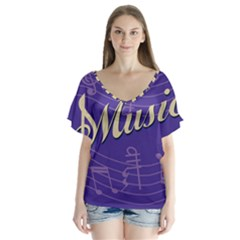Music Flyer Purple Note Blue Tone Flutter Sleeve Top