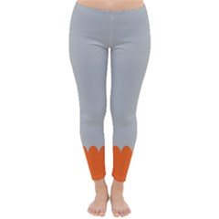 Orange Gray Scallop Wallpaper Wave Classic Winter Leggings