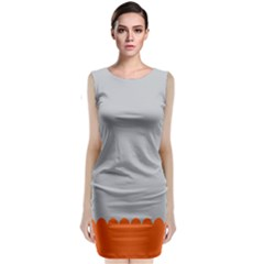 Orange Gray Scallop Wallpaper Wave Classic Sleeveless Midi Dress