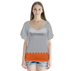 Orange Gray Scallop Wallpaper Wave Flutter Sleeve Top