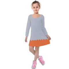 Orange Gray Scallop Wallpaper Wave Kids  Long Sleeve Velvet Dress