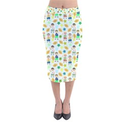 Kids Football Sport Ball Star Velvet Midi Pencil Skirt by Alisyart