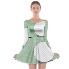 Golf Image Ball Hole Black Green Long Sleeve Skater Dress