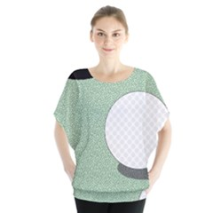 Golf Image Ball Hole Black Green Blouse