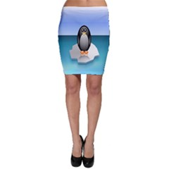 Penguin Ice Floe Minimalism Antarctic Sea Bodycon Skirt by Alisyart