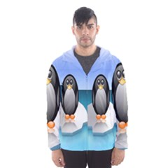 Penguin Ice Floe Minimalism Antarctic Sea Hooded Wind Breaker (men)