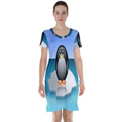 Penguin Ice Floe Minimalism Antarctic Sea Short Sleeve Nightdress by Alisyart