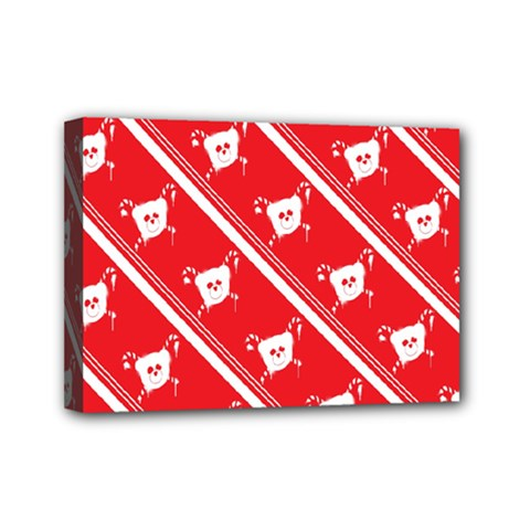Panda Bear Face Line Red White Mini Canvas 7  X 5  by Alisyart