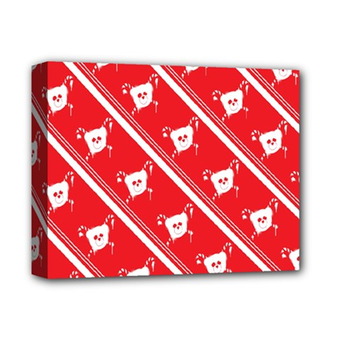 Panda Bear Face Line Red White Deluxe Canvas 14  X 11  by Alisyart