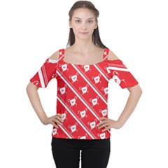 Panda Bear Face Line Red White Women s Cutout Shoulder Tee by Alisyart
