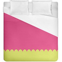 Pink Yellow Scallop Wallpaper Wave Duvet Cover (king Size) by Alisyart
