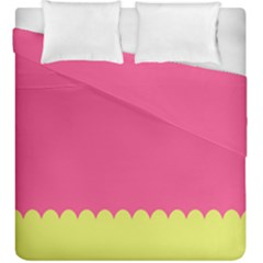 Pink Yellow Scallop Wallpaper Wave Duvet Cover Double Side (king Size) by Alisyart