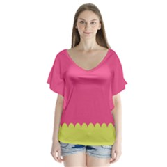 Pink Yellow Scallop Wallpaper Wave Flutter Sleeve Top