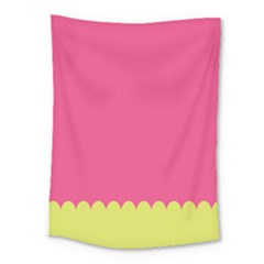 Pink Yellow Scallop Wallpaper Wave Medium Tapestry
