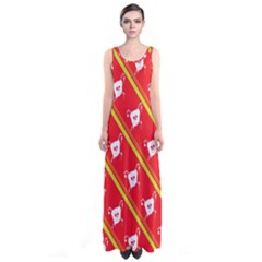 Panda Bear Face Line Red Yellow Sleeveless Maxi Dress