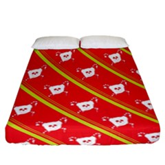 Panda Bear Face Line Red Yellow Fitted Sheet (california King Size)
