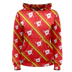 Panda Bear Face Line Red Yellow Women s Pullover Hoodie