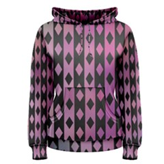 Old Version Plaid Triangle Chevron Wave Line Cplor  Purple Black Pink Women s Pullover Hoodie