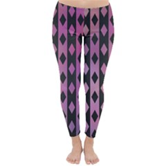 Old Version Plaid Triangle Chevron Wave Line Cplor  Purple Black Pink Classic Winter Leggings