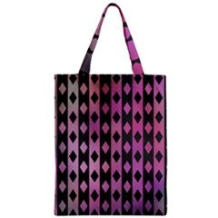 Old Version Plaid Triangle Chevron Wave Line Cplor  Purple Black Pink Zipper Classic Tote Bag by Alisyart