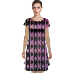 Old Version Plaid Triangle Chevron Wave Line Cplor  Purple Black Pink Cap Sleeve Nightdress