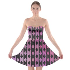 Old Version Plaid Triangle Chevron Wave Line Cplor  Purple Black Pink Strapless Bra Top Dress