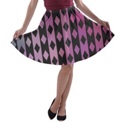 Old Version Plaid Triangle Chevron Wave Line Cplor  Purple Black Pink A Line Skater Skirt