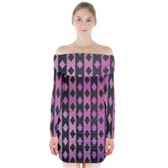 Old Version Plaid Triangle Chevron Wave Line Cplor  Purple Black Pink Long Sleeve Off Shoulder Dress