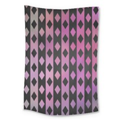 Old Version Plaid Triangle Chevron Wave Line Cplor  Purple Black Pink Large Tapestry