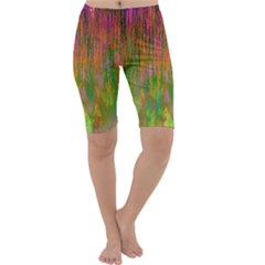 Abstract Trippy Bright Melting Cropped Leggings