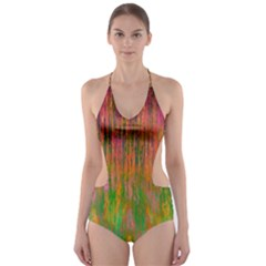 Abstract Trippy Bright Melting Cut Out One Piece Swimsuit